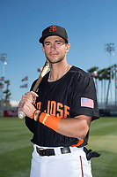 San Jose Giants first baseman Gio Brusa (26) poses for a photo before a California League game against the Lancaster JetHawks at San Jose Municipal Stadium on May 12, 2018 in San Jose, California. Lancaster defeated San Jose 7-6. (Zachary Lucy/Four Seam Images)