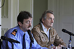 Garda Superintendant Michael Devine and Henry Mountcharles during the press conference for the Foo Fighters in Slane Castle on Thursday 21st May 2015.