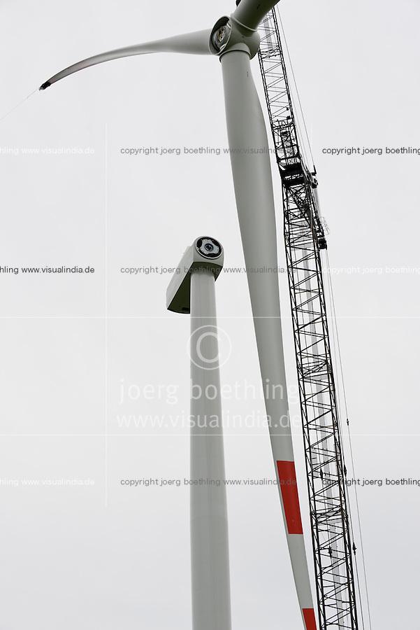 Germany Schleswig-Holstein Nortorf, construction of wind turbine SENVION 3.2M114, performance 3,2 Megawatt
