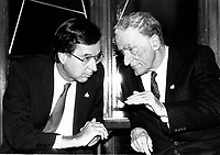 Sept 31 1988 File Photo - Robert Bourassa (L) and Claude Ryan, Education Minister (R)