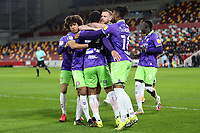 Bristol City players congratulate Zak Vyner after scoring their opening goal during Brentford vs Bristol City, Sky Bet EFL Championship Football at the Brentford Community Stadium on 3rd February 2021