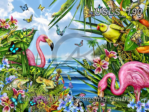 Lori, REALISTIC ANIMALS, REALISTISCHE TIERE, ANIMALES REALISTICOS, zeich, paintings+++++Flamingos By The Sea_18.5X24.5_Sunsout_2015_10in_72,USLS190,#a#, EVERYDAY ,puzzle,puzzles