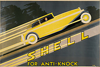 BNPS.co.uk (01202 558833)<br /> Pic: Lyon&Turnbull/BNPS<br /> <br /> Pictured: An Art Deco poster advertising Shell's Anti-Knock petrol<br /> <br /> A vast collection of vintage Shell posters have sold at auction for almost £60,000.<br /> <br /> The group of 49 sheets were sold directly from the oil giant's archives and featured some incredibly rare designs from down the years.<br /> <br /> All of the posters had previously been used in Shell advertising campaigns, dating back to between the 1920s and 1950s.<br /> <br /> Many of the colourful designed featured the slogan 'You can be sure of Shell' and list people who preferred their fuel.