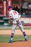 Stockton Ports relief pitcher Boomer Biegalski (14) looks to his catcher for the sign during a California League game against the Visalia Rawhide at Visalia Recreation Ballpark on May 9, 2018 in Visalia, California. Stockton defeated Visalia 4-2. (Zachary Lucy/Four Seam Images)