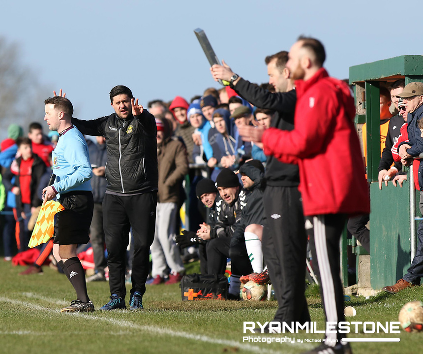 FAI Junior Cup Quarter Final.<br /> Peake Villa v Sheriff YC<br /> Tower Grounds,<br /> Thurles, Co Tipperary<br /> Sunday 12th March 2017<br /> Sheriff YC Manager Alan Reilly<br /> Photo Credit: Michael P Ryan