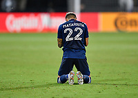 LAKE BUENA VISTA, FL - AUGUST 01: Ronald Matarrita #22 of New York City FC takes a knee during a game between Portland Timbers and New York City FC at ESPN Wide World of Sports on August 01, 2020 in Lake Buena Vista, Florida.