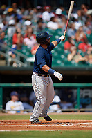 Mobile BayBears Julian Leon (20) hits a home run during a Southern League game against the Montgomery Biscuits on May 2, 2019 at Riverwalk Stadium in Montgomery, Alabama.  Mobile defeated Montgomery 3-1.  (Mike Janes/Four Seam Images)