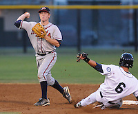 Second basemen Barrett Kleinknecht (10) of the Danville Braves turns the first half of a double play as Jake Schlander (6) of the Pulaski Mariners tries to take him out in a game on July 19, 2010, at Calfee Park in Pulaski, Va. Photo by: Tom Priddy/Four Seam Images