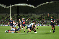 19th March 2021; Melbourne Rectangular Stadium, Melbourne, Victoria, Australia; Australian Super Rugby, Melbourne Rebels versus New South Wales Waratahs; Lachlan Anderson of the Rebels scores the opening try of the game