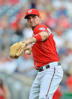 22 July 2012: Washington Nationals third baseman Ryan Zimmerman warms up for a game against the Atlanta Braves at Nationals Park in Washington, DC. The Nationals defeated the Braves 9-2 to split their 4-game weekend series. Mandatory Credit: Ed Wolfstein Photo