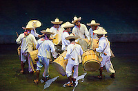 "Drummers from Tabasco, Performance of ""Mexico Espectacular"", Xcaret, Playa del Carmen, Riviera Maya, Yucatan, Mexico."