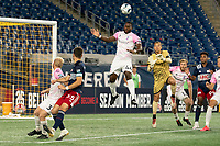 FOXBOROUGH, MA - SEPTEMBER 04: Josiah Trimmingham #44 Forward Madison FC heads the ball away from goal on a corner kick during a game between Forward Madison FC and New England Revolution II at Gillette Stadium on September 04, 2020 in Foxborough, Massachusetts.