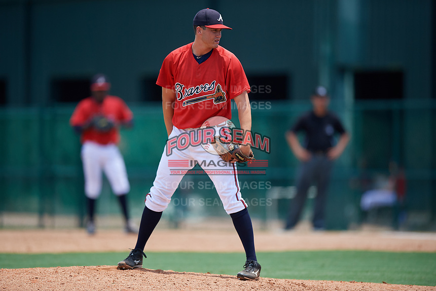 GCL Braves relief pitcher Jackson Lourie (54) looks in for the sign during a game against the GCL Pirates on July 27, 2017 at ESPN Wide World of Sports Complex in Kissimmee, Florida.  GCL Braves defeated the GCL Pirates 8-6.  (Mike Janes/Four Seam Images)