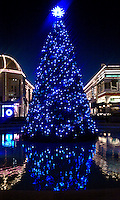 Christmas tree with blue lights at dusk at a suburban mall.