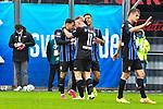 Jubel nach dem treffer von Waldhofs Dominik Martinovic (Nr.11) v.l. Waldhofs Arianit Ferati (Nr.10), Waldhofs Marcel Costly (Nr.17) und Waldhofs Dominik Martinovic (Nr.11)  beim Spiel in der 3. Liga, SV Waldhof Mannheim - Türgücü München.<br /> <br /> Foto © PIX-Sportfotos *** Foto ist honorarpflichtig! *** Auf Anfrage in hoeherer Qualitaet/Aufloesung. Belegexemplar erbeten. Veroeffentlichung ausschliesslich fuer journalistisch-publizistische Zwecke. For editorial use only. DFL regulations prohibit any use of photographs as image sequences and/or quasi-video.