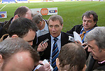 St Johnstone v Morton....02.05.09.Chairman Geoff Brown speaks to reporters.Picture by Graeme Hart..Copyright Perthshire Picture Agency.Tel: 01738 623350  Mobile: 07990 594431