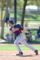Nick Hamilton #6 of the Cleveland Indians bats during a Minor League Spring Training Game against the Los Angeles Dodgers at the Los Angeles Dodgers Spring Training Complex on March 22, 2014 in Glendale, Arizona. (Larry Goren/Four Seam Images)