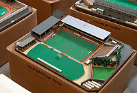 BNPS.co.uk (01202 558833)<br /> Pic: Zachary Culpin/BNPS<br /> <br /> Pictured: Northampton FC used to have a cricket ground next door,<br /> <br /> An incredible collection of model football stadiums handmade by a soccer fan have sold for almost £19,000 after being found in a storage unit.<br /> <br /> Model-maker John Le Maitre created miniature versions of all 92 English Football League club grounds from the 1980s, as well as the old Wembley Stadium.<br /> <br /> They featured on a Blue Peter episode that year and are a throwback to a bygone age when football grounds with their banks of terraces looked very different to today's super stadiums.