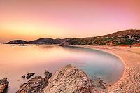 The sunrise at Cheromylos beach in Evia, Greece