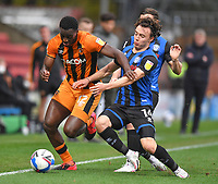 Hull City's Josh Emmanuel battles with Rochdale's Ollie Rathbone<br /> <br /> Photographer Dave Howarth/CameraSport<br /> <br /> The EFL Sky Bet League One - Rochdale v Hull City - Saturday 17th October 2020 - Spotland Stadium - Rochdale<br /> <br /> World Copyright © 2020 CameraSport. All rights reserved. 43 Linden Ave. Countesthorpe. Leicester. England. LE8 5PG - Tel: +44 (0) 116 277 4147 - admin@camerasport.com - www.camerasport.com