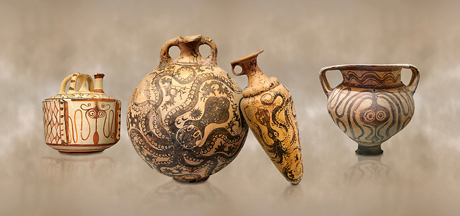 Minoan pottery with stylised octopus decorations, 1500-1400 BC, Heraklion Archaeological Museum.  <br /> <br /> From Left to right<br /> 1- Pseudostomos jug from Knossos-Venizeleio 1300-1200 BC, <br /> 2- flask with Marine style stylised octopus design,   Palaikastro,  1500-1450 BC; <br /> 3- conical rhython with Marine style stylised octopus design,   Palaikastro 1500-1450 BC; <br /> 5- far right Krater Episkopi Lerapetra 1370-1250 BC,