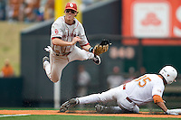 Secondbaseman Cale Ellis #2 of the Oklahoma Sooners turns a double play against the Texas Longhorns in NCAA Big XII baseball on May 1, 2011 at Disch Falk Field in Austin, Texas. (Photo by Andrew Woolley / Four Seam Images)
