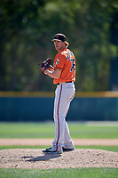 Baltimore Orioles pitcher Zeke McGranahan (76) gets ready to deliver a pitch during a minor league Spring Training game against the Tampa Bay Rays on March 29, 2017 at the Buck O'Neil Baseball Complex in Sarasota, Florida.  (Mike Janes/Four Seam Images)