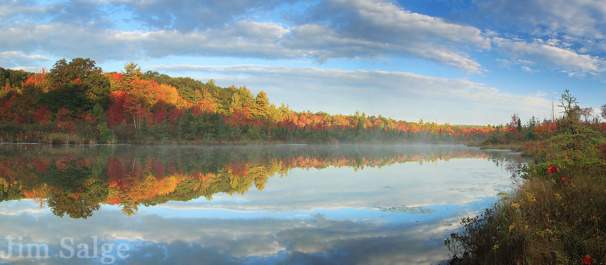 A kettle hole bog, right off busy Rt. 101 in Auburn, NH shines in peak foliage.