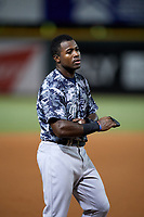 Tampa Yankees left fielder Tito Polo (18) during the second game of a doubleheader against the Bradenton Marauders on June 14, 2017 at LECOM Park in Bradenton, Florida.  Tampa defeated Bradenton 5-1.  (Mike Janes/Four Seam Images)
