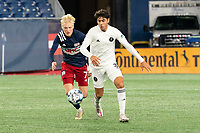 FOXBOROUGH, MA - OCTOBER 09: Connor Presley #7 of New England Revolution II and Sami Guediri #3 of Fort Lauderdale CF chase the ball during a game between Fort Lauderdale CF and New England Revolution II at Gillette Stadium on October 09, 2020 in Foxborough, Massachusetts.