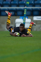 Simon McIntyre of London Wasps runs in a try during the LV= Cup second round match between London Wasps and Worcester Warriors at Adams Park on Sunday 18th November 2012 (Photo by Rob Munro)