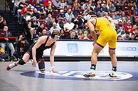STANFORD, CA - March 7, 2020: Shane Griffith of Stanford and Joshua Shields of Arizona State University during the  2020 Pac-12 Wrestling Championships at Maples Pavilion.