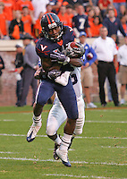 Virginia wide receiver Vic Hall (4) makes a catch during an ACC football game against Duke Saturday in Charlottesville, VA. Duke won 28-17. Photo/Andrew Shurtleff