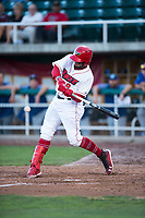 Orem Owlz third baseman Kevin Maitan (9) swings at a pitch during a Pioneer League game against the Ogden Raptors at Home of the OWLZ on August 24, 2018 in Orem, Utah. The Ogden Raptors defeated the Orem Owlz by a score of 13-5. (Zachary Lucy/Four Seam Images)
