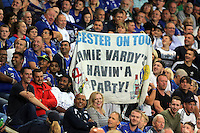 Pictured: Leicester supporters with a Jamie Vardy banner Saturday 27 August 2016<br />