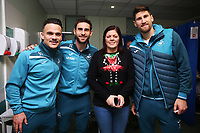 Thursday 21 December 2017<br /> Pictured: Roque Mesa, Angel Rangel, Federico Fernandez of Swansea City<br /> Re: Swansea City Childrens Ward Visit, Morriston Hospital, Swansea, Wales, UK