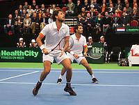 11-02-12, Netherlands,Tennis, Den Bosch, Daviscup Netherlands-Finland, Dubbels, Jean-Julien Rojer en Robin Haase(L)