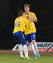 Cowdenbeath's Jordan Morton (11) celebrates with Lewis Milne (18) after he scores their second goal.