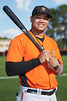 Frederick Keys third baseman Jomar Reyes (13) poses for a photo prior to the game against the Buies Creek Astros at Jim Perry Stadium on April 28, 2018 in Buies Creek, North Carolina. The Astros defeated the Keys 9-4.  (Brian Westerholt/Four Seam Images)