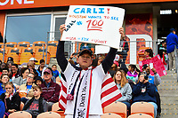Houston, TX - Sunday April 8, 2018: USA supporters, Carli Lloyd during an International friendly match versus the women's National teams of the United States (USA) and Mexico (MEX) at BBVA Compass Stadium.