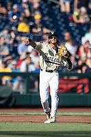 Vanderbilt Commodores third baseman Austin Martin (16) makes a throw to first base against the Michigan Wolverines during Game 3 of the NCAA College World Series Finals on June 26, 2019 at TD Ameritrade Park in Omaha, Nebraska. Vanderbilt defeated Michigan 8-2 to win the National Championship. (Andrew Woolley/Four Seam Images)