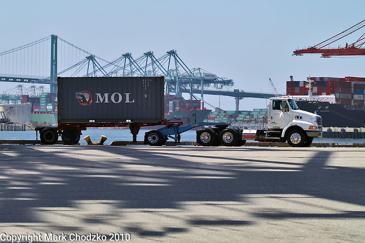"""Green Truck"" and container in the Port of Long Beach."