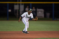 Hillsboro Hops second baseman Keshawn Lynch (8) during a Northwest League game against the Salem-Keizer Volcanoes at Ron Tonkin Field on September 1, 2018 in Hillsboro, Oregon. The Salem-Keizer Volcanoes defeated the Hillsboro Hops by a score of 3-1. (Zachary Lucy/Four Seam Images)