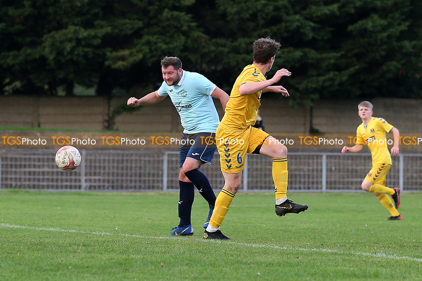 James Peagram of Barkingside scores the second goal for his team and celebrates during Barkingside vs AFC Sudbury Reserves, Thurlow Nunn League Football at Cricklefields Stadium on 9th October 2021