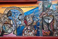 Cuba, Havana.  Callejon de Hamel Murals, Central Havana.  Detail Shot.