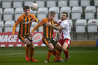 Billy Chadwick of Hull City and Romain Vincelot of Stevenage during Stevenage vs Hull City, Emirates FA Cup Football at the Lamex Stadium on 29th November 2020