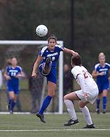 Hofstra University forward Salma Tarik (8) vollies pass forward. Boston College defeated Hofstra University, 3-1, in second round NCAA tournament match at Newton Soccer Field, Newton, MA.