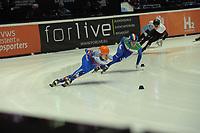 SPEEDSKATING: DORDRECHT: 05-03-2021, ISU World Short Track Speedskating Championships, Heats 1000m Men, Semen Elistratov (RSU), Luca Spechenhauser (ITA), ©photo Martin de Jong