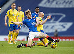 Rangers v St Johnstone…25.04.21   Ibrox.  Scottish Cup<br />Chris Kane and Filip Helander battle for possession <br />Picture by Graeme Hart.<br />Copyright Perthshire Picture Agency<br />Tel: 01738 623350  Mobile: 07990 594431