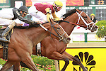 2011 05 20:R Holiday Mood with John Velazquez holsd off Strike the Moon win the Miss Preakness Stakes, for 3 year olds fillies, at 6 furlongs, Pimlico Racetrack. Trainer Todd Pletcher. Owner E. Paul Robsham Stables